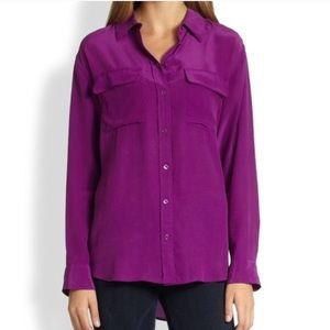 Equipment Signature Silk Fuchsia Blouse